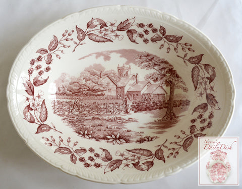 Vintage Red Transferware Oval Serving Bowl Cottage Hedging w/ Blackberry Border