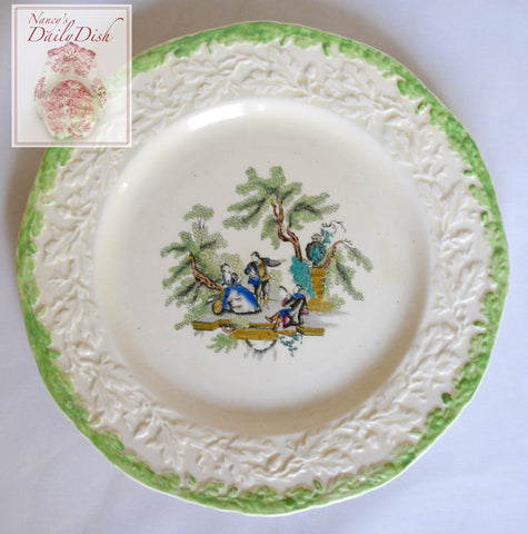 "Masons Romantic Music Scene Black Transferware Hand Painted Plate 6  7/8"" Embossed Oak Leaf & Acorn Border"