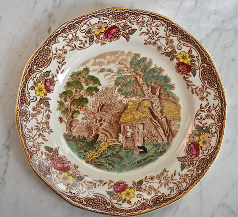 Vintage Brown Transferware Plate Mother Holding Infant Children Playing Alongside a Stream Gold Trim Roses