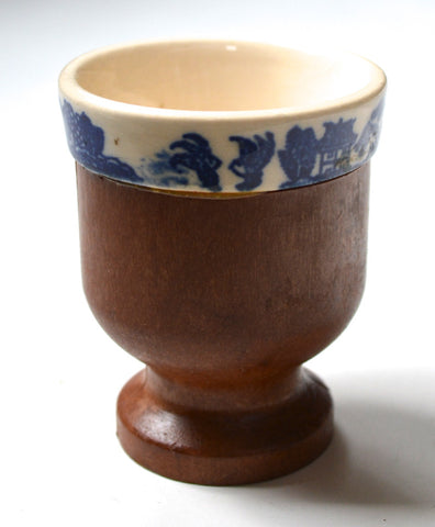 Antique Blue Willow English Transferware & Wood Pedestal Egg Cup
