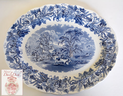 Large Booths British Scenery Vintage Blue Transferware Platter - Grapes Vines Grazing Cows Cattle Sheep  Farm Scene Cottage
