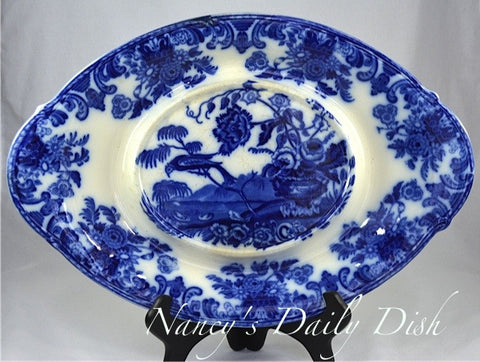 Huge Antique Flow Blue & White Transferware Serving Tray Copeland Bird Swans Urn with Flowers