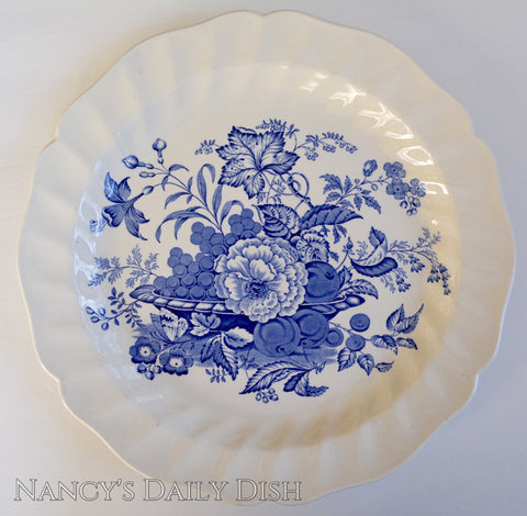Blue English Transferware Round Platter Basket of Fruit & Flowers w/ Butterfly Royal Doulton