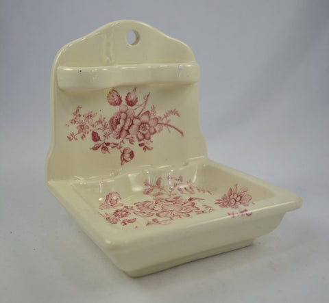 Vintage Red Transferware Hanging Soap Dish Toothbrush Holder Charlotte Roses Cottage Bathroom Decor