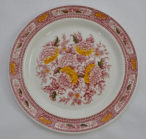 "Ridgway ""Canterbury"" Red English Ironstone Transferware Salad Plate Polychrome Handpainted Flowers"