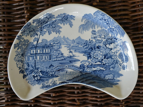 Blue Transerware Crescent  Moon Shaped Salad Plate Tonquin Royal Staffordshire