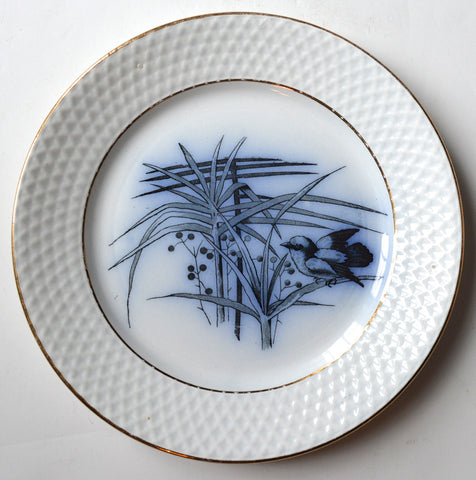 Antique  Aesthetic Flow Navy Blue Transferware Plate Bird with berries and Foliage Embossed Border