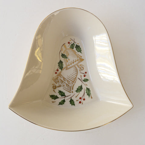 Lenox China HOLIDAY Large Serving Bowl SHIMMERING BELL ~ Holly & Berries
