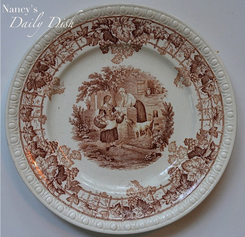 Vintage Spode Byron Centurion Edition Brown Transferware Plate Farm Dog Chickens Trellis Vine Grapes
