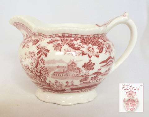 Vintage Chinoiserie Creamer Pitcher Red Transferware  Wood and Sons Seaforth Sea Port Seaside Village