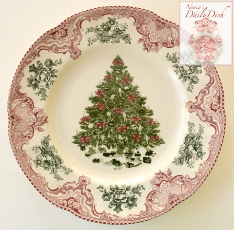 Red / Pink & Green Transferware Plate Christmas Tree w/ Ribbons & Toys Underneath
