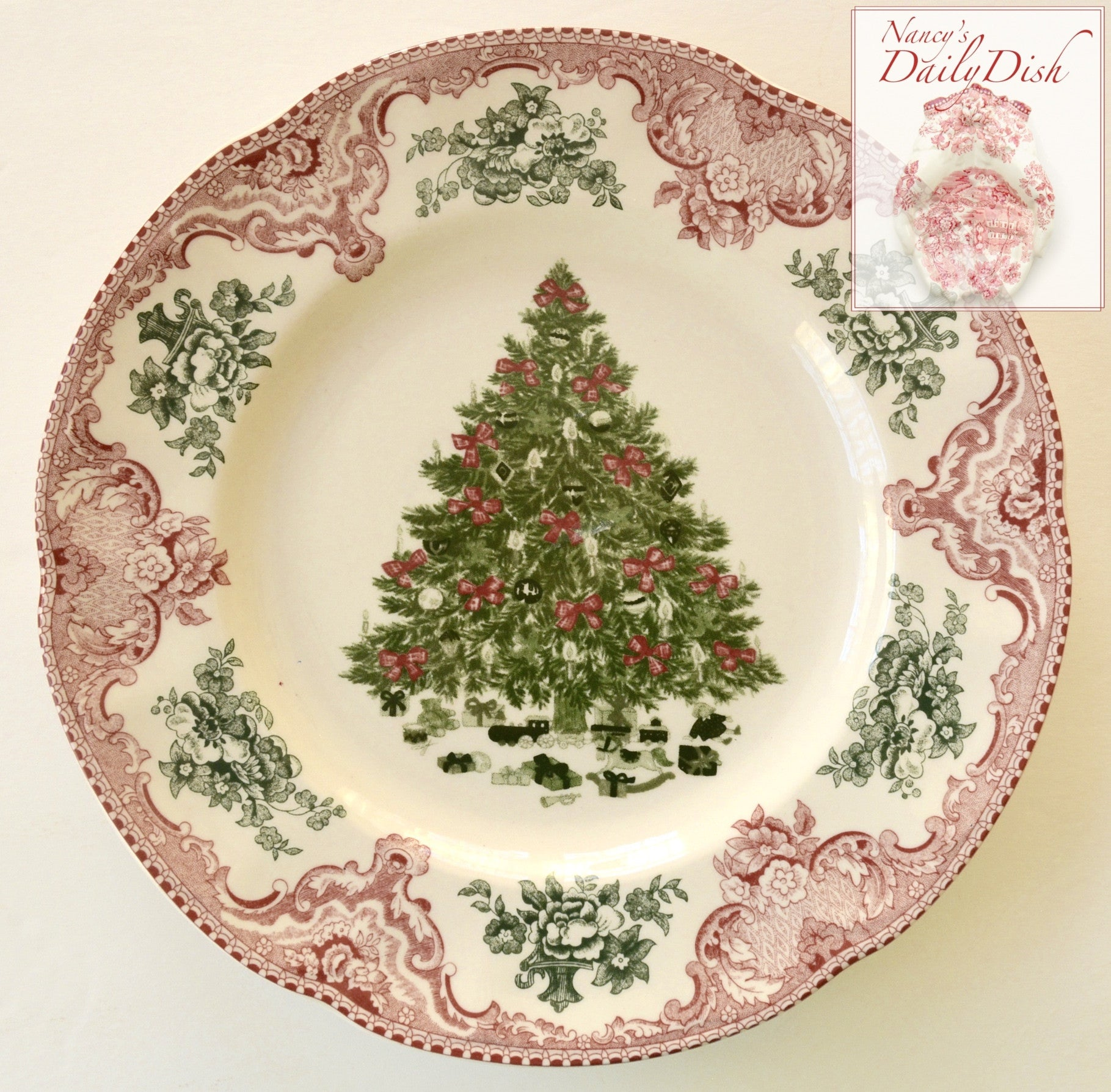 Red Pink Green Transferware Salad Plate Christmas Tree W Ribbons