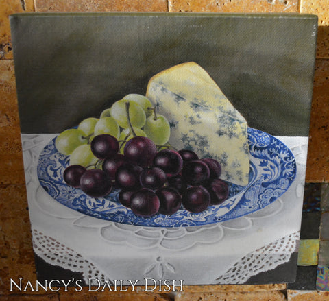Spode Italian Wrapped Canvas Painting Grapes and Cheese on Blue Transferware Plate