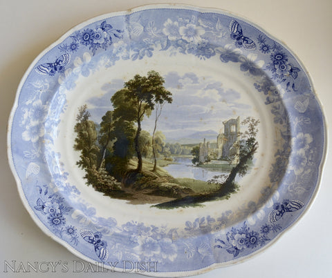 RARE HUGE Staffordshire THREE Color Transferware Enoch Wood Butterfly Border Platter 1830