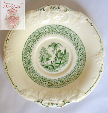Antique Green Transferware Plate Scenic Landscape Marlborough Embossed Floral Border