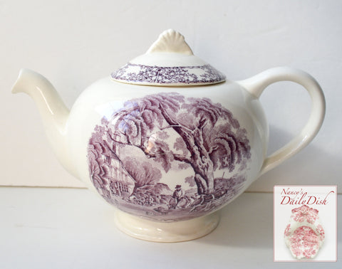 Vintage Purple English Transferware Tea Pot Horses Chickens  Rural Scenes / Pastoral Davenport