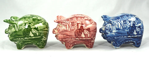 Vintage James Kent Foley Figural Green Pig Piggy Bank English Village Toile Transferware