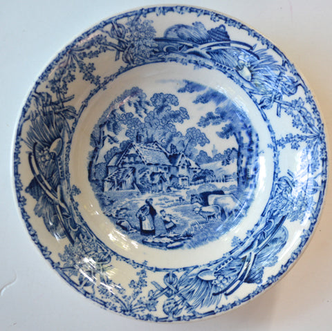 Blue Toile TRANSFERWARE Bowl Candy Dish Trinket Dish Mother Child Cows Lamb Farm
