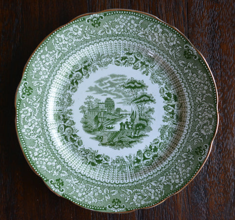 Antique Staffordshire Green Transferware Salad Plate Grecian Ridgway  Staffordshire Beehive Stamp