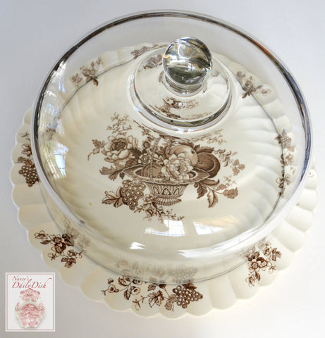 "13.5"" Brown & White Transferware Round Cake Platter Basket of Fruits & Flowers"