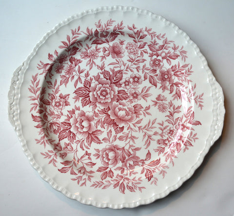 Red English Transferware Tab Handled Serving Tray Floral Chintz Toile Roses Daisies Blue Bells Vintage
