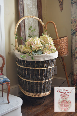Handwoven Rattan / Wicker Rolling Wheels French Market Basket