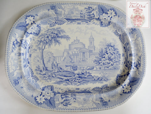 Circa 1830's HUGE Light Blue English Transferware Romantic Staffordshire Platter Meir Italian Scenery Cows