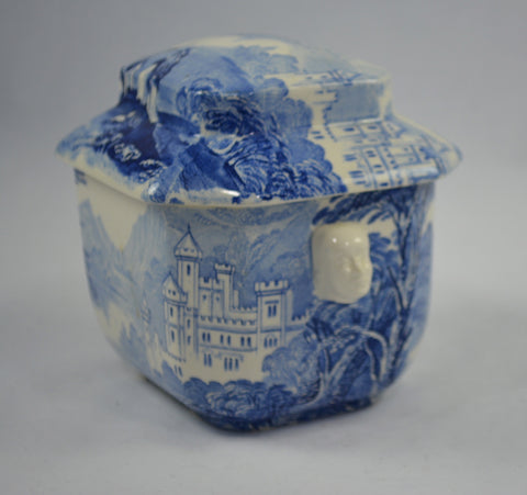 Blue and White Staffordshire Transferware Tea Caddy Jenny Lind Figural Face Shaped Handles Lidded Jar