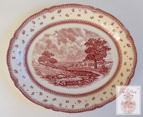 Scenes After Constable Red Transferware Platter Noon on the Farm Pastoral Landscape Scene