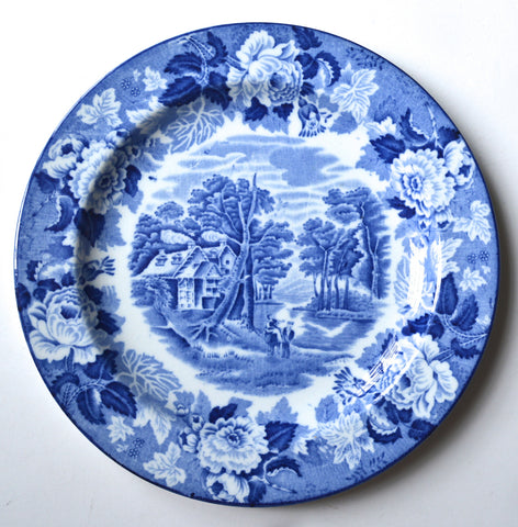 Blue and White Vintage English Transferware Plate Pastoral Scene with Roses Border