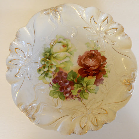 Victorian Cottage Style Gilded & Embossed PS Germany Serving Bowl  Hand Painted Pink Roses & Grapes