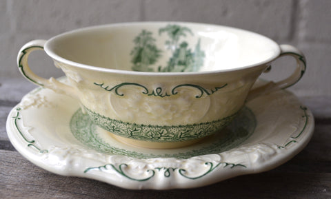 Green English Transferware Dual Handled Cream Soup Bowl / Cup and Saucer / Plate Marlborough Embossed Floral Border
