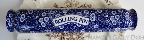 Rare! Blue English Ironstone Chintz Calico Transferware Advertising Rolling Pin Kitchen Decor