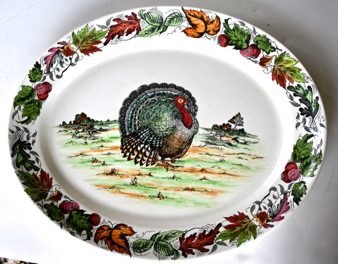Hand Painted Thanksgiving Tom Turkey Black English Transferware Platter Tonquin Autumn Foliage Clarice Cliff Royal Staffordshire