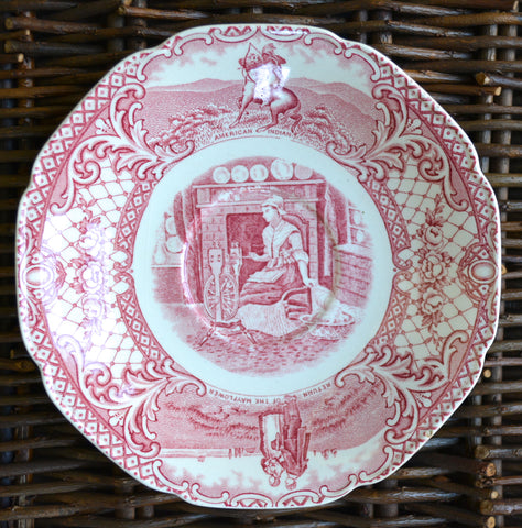 Crown Ducal Colonial Times Red Transferware Plate Saucer Betsy Ross Thanksgiving / Independence Day