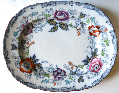 Flow Navy Blue Enameled Clobbered Floral Antique Transferware Platter William Brownfield Savona