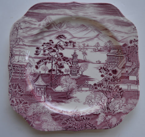 Chinoiserie Purple / Plum Square Plate Enchanted Garden Pagoda Alpine Scenery