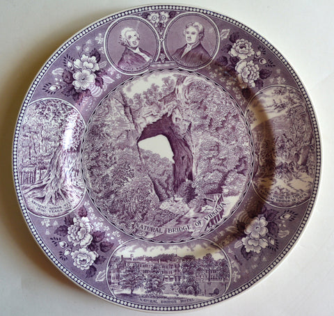 Aubergine Purple Transferware Plate Natural Bridges of Virginia Seven Natural Wonders of the World American History / Historical Staffordshire