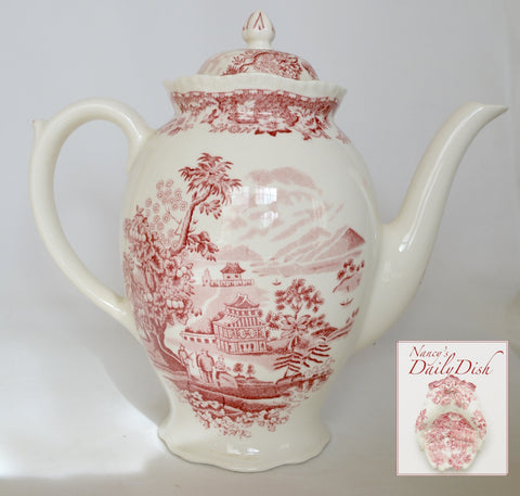 Vintage Chinoiserie Teapot Coffee Pot Red Transferware  Wood and Sons Seaforth Seaforth Sea Port Seaside Village