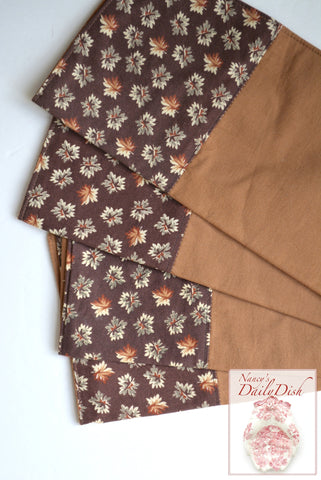 "Set of 4 Country French Custom Made Autumn Leaves Cloth 11"" Napkins"