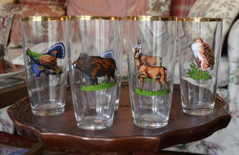 Set of 6 Vintage German Woodland Animal Hunting Drinking Glasses / Tumblers