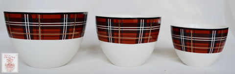 Set of 3 Graduating Sizes Tartan Plaid Red & Black Porcelain Nesting Bowls NEW Ciroa