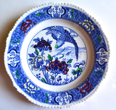 Blue Chinoiserie English Transferware Plate Aquila Eagle in Flight Oriental Flowers Woods