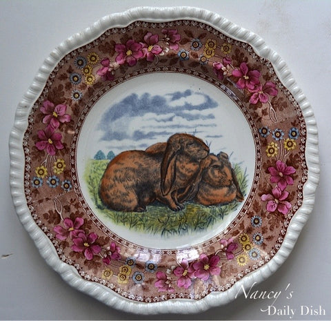 Antique Copeland Late Spode Floppy Eared Bunny Rabbits Plate Hand Painted Gray & Brown Two Color Transferware Delft Tower
