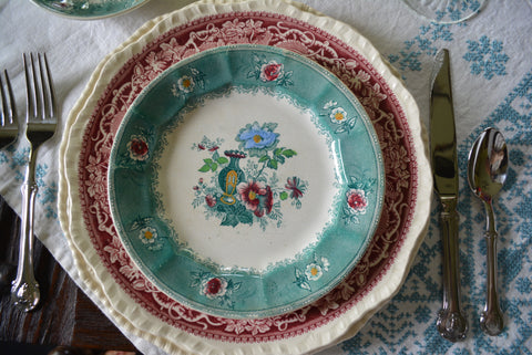 Antique 19th Century E Challinor Amula Teal Green / Turquoise Transferware Polychrome Salad Plate Victorian Urn & Roses