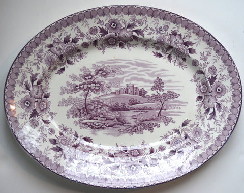 Purple English Transferware Large Size Platter Hilltop Castle Woodland Stream and Roses Aimcee