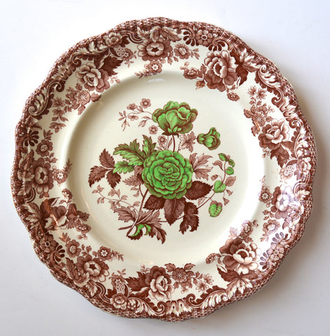 Vintage Copeland Spode Apple Green & Brown Transferware Victorian Roses Plate or Charger
