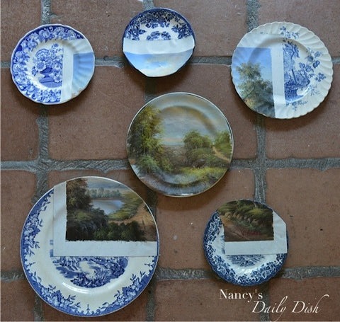One of a Kind  Plate Collage Blue Transferware  Marries Landscape Oil Painting - Instant Wall Display - Altered Art Plate Set