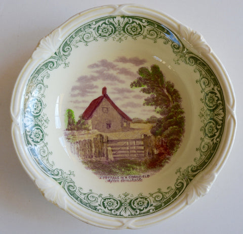 Scenes After Constable Green Purple Two Color English Transferware Candy Dish Bowl A Cottage In A Cornfield John Constable