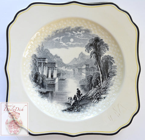 Royal Doulton Black Transferware Square Plate European Alpine Lake Picnic Scene